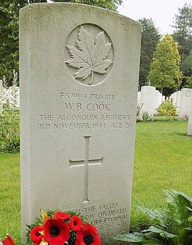 Grave marker– Grave of Winton B. Cook Bergen op Zoom Netherlands