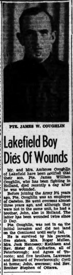 Newspaper clipping– JAMES COUGHLIN DEAD