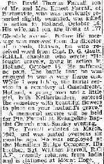 Coupre de presse – Source:  Hamilton Spectator, 2 Novembre 1944