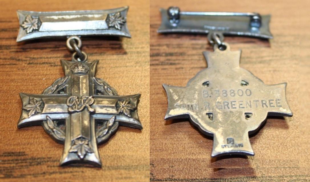 Memorial Cross– One of the memorial crosses awarded to commemorate Sgmn. Greentree