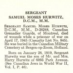 Obituary– Samuel Hurwitz is honoured on page 34 of the memorial book,