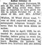 Newspaper Clipping– Source:  Hamilton Spectator, November 7, 1944