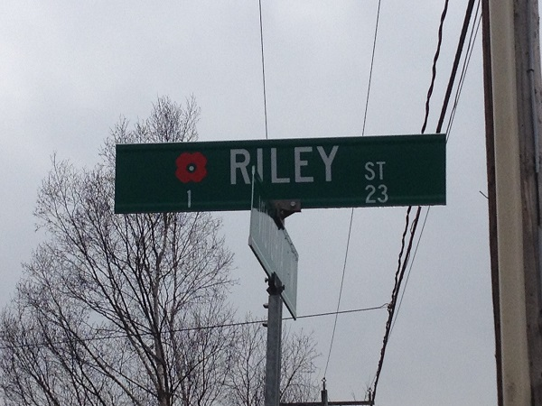 Street name– Cookstown street named in honour of Trooper George Archibald Riley with a poppy.