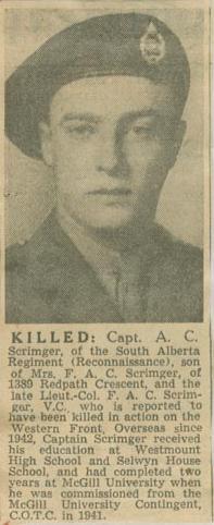 Press Clipping– Capt Alexander Caron Scrimger obit Montreal Star Nov 11 1944 courtesy McGill University archives