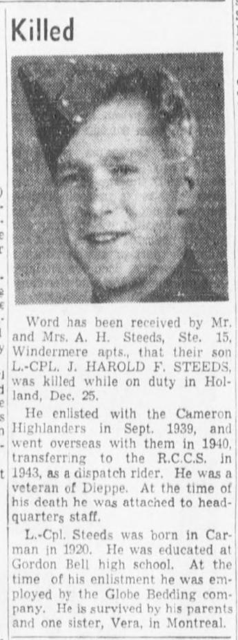 Obituary– Obituary - JOHN HAROLD FRANCIS STEEDS