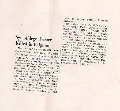 Newspaper Clipping– And image of the news of Aldège's death as it appeared in the newspaper!