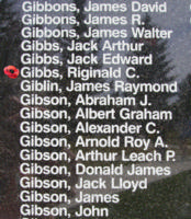 Memorial– Flying Officer Reginald Cuthbert Gibbs is also commemorated on the Bomber Command Memorial Wall in Nanton, AB … photo courtesy of Marg Liessens