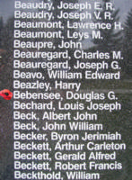 Memorial– Sergeant Douglas Glenn Bebensee is also commemorated on the Bomber Command Memorial Wall in Nanton, AB … photo courtesy of Marg Liessens