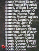 Memorial– WO II Observer George Vincent Cyril Booth is also commemorated on the Bomber Command Memorial Wall in Nanton, AB … photo courtesy of Marg Liessens