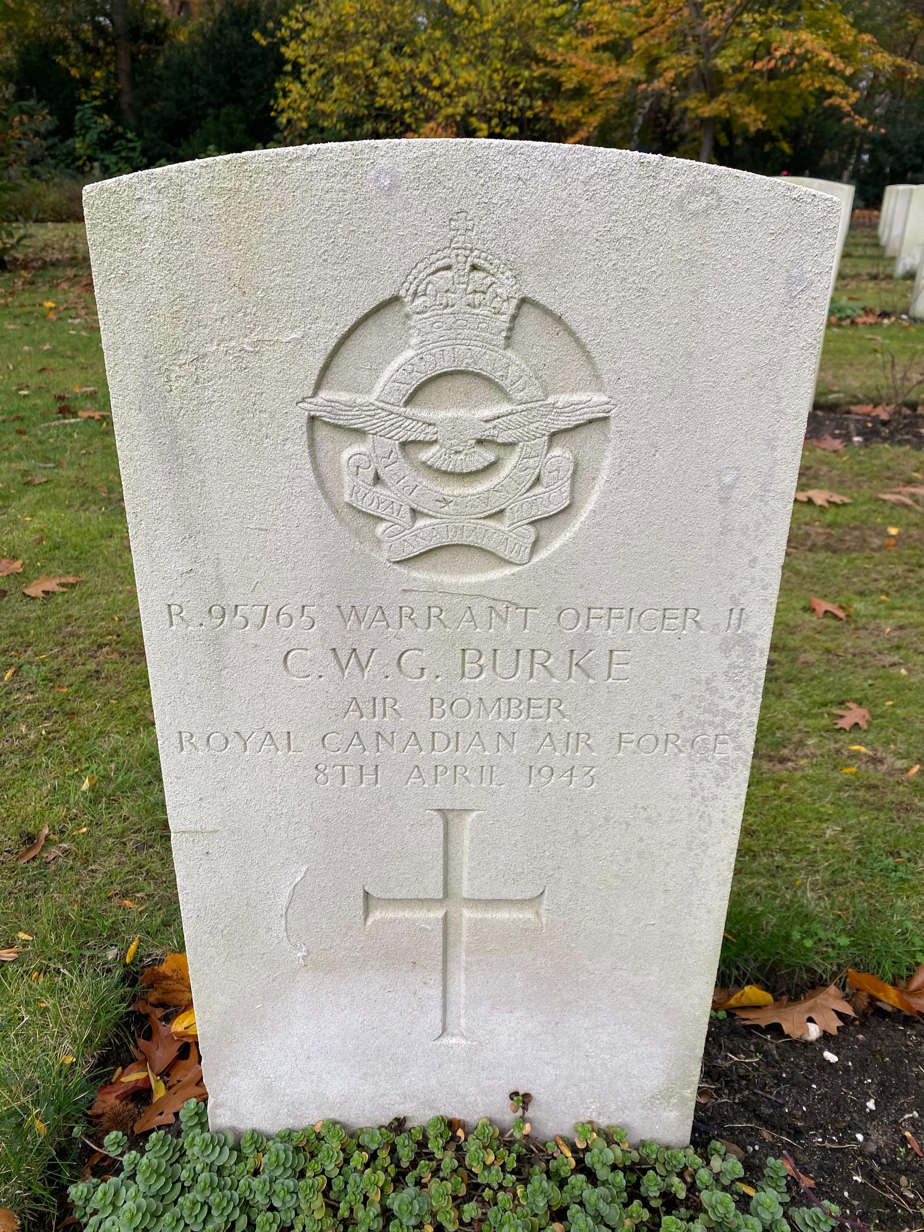 Grave marker– Grave marker from Cuthbert Burke's grave at Jonkerbos War Cemetery, Nijmegen, The Netherlands.  Cuthbert Burke was born in Panama City on 16 December 1913.