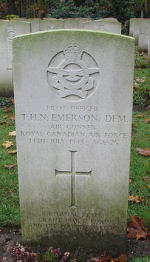 Grave Marker– Photo courtesy of Frans van Cappellen, Putten, The Netherlands Halifax aircraft HR-905 was airborne 2315 13Jul43 from Gransden Lodge. Shot down by a night-fighter and disintegrated near Asten (Noord Brabant), 9 km SE of Helmond, Holland. Burials were held at the temporary military cemetery at Venlo. Their graves are now located in Jonkerbos War Cemetery. S/L D. L. Wolfe, DFC, joined the RAF prior to the outbreak of war.  He had been a flight commander with 419 Sqdn and was on his second tour of operations. Sgt Bebensee RCAF had previously served on No.35 Sqdn, his DFM being Gazetted 11Jun43. That for F/S Emerson was Gazetted 28Jul44.  Sgt D.G.Bebensee DFM RCAF KIA F/O R.G.Morrison DFC; Sgt E.M.Witt; F/O G.G.McGladrey DFC; F/S T.H.N.Emerson DFM.  Two crew were taken PoW:  F/O D.M.Clarke, RCAF, was interned in Camp L3. No.6474 with F/O D.J.Smith, RNZAF, PoW No.6291.  (Source:  //lostbombers.co.uk)