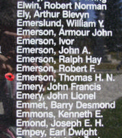 Memorial– Pilot Officer Thomas Henry Navin Emerson is also commemorated on the Bomber Command Memorial Wall in Nanton, AB … photo courtesy of Marg Liessens