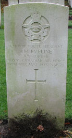 Grave Marker– Photo courtesy of Frans van Cappellen, The Netherlands FS (AG) Eveline was Air Gunner on Wellington X3420 which  Airborne 1806 14Feb43 from Dishforth. Shot down by a night-fighter and crashed 2100 between Heel and Beegden (Limburg). All were initially taken to Venlo for burial. They have been subsequently re-interred in Jonkerbos War Cemetery.  Killed was W/C S.S.Blanchard who was 426 Sqdn Commander; Also killed were 2nd Pilot Sgt K.W.Tutton; P/O P.W.Jeanneret; Sgt A.G.Longwell; F/S Eveline and RAF Sgt P.M.Corley. (Source:  www.lostbombers.co.uk)
