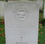 Grave Marker– Photo courtesy of Frans van Cappellen, Putten, The NetherlandsS/L Greenslade, age 29, was from Youngstown, Alberta.  He had completed sixty-three operations serving in the RAF, been Mentioned in Despatches, awarded the Distinguished Flying Cross and the Air Force Cross.   He narrowly escaped death over Hamburg July 1942 (Under a Bomber's Moon by Stephen Harris, Chapter 8).   Stirling aircraft R9167 went down during a trip over Krefeld, Germany. The crew were airborne 1906 2Oct42 from Lakenheath and hot down by a night-fighter, crashing 2132 at Kronenberg (Limburg) 13 km WNW of Venlo, Holland, where the crew were initially buried. They have been subsequently re-interred in Jonkerbos War Cemetery.  RCAF Sgt. (B) Robt. F. McIntyre and non-Canadian crew were also killed.  They were:  Sgts M.K.Smith, F.L.Hughes, E.L.Moore, B. F. Goldsmith and F/S W.Orange. (Source:  //lostbombers.co.uk)