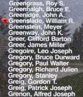 Memorial– Squadron Leader Pilot William Roy Greenslade is also commemorated on the Bomber Command Memorial Wall in Nanton, AB … photo courtesy of Marg Liessens