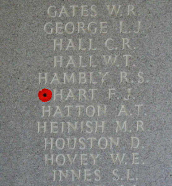 Memorial– Inscription - Sergeant Francis Joseph Hart is also commemorated on the Runnymede Memorial, Surrey, UK - April 2017 … photo courtesy of Marg Liessens