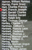 Memorial– Sergeant Francis Joseph Hart is also commemorated on the Bomber Command Memorial Wall in Nanton, AB … photo courtesy of Marg Liessens
