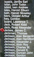 Memorial– Pilot Officer James Connacher Jackes is also commemorated on the Bomber Command Memorial Wall in Nanton, AB … photo courtesy of Marg Liessens