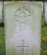 Grave Marker– Photo courtesy of Frans van Cappellen, Putten, The NetherlandsHalifax D147 was one of three No.419 Sqdn Halifaxes lost on this operation. The crew was airborne 2240 24Jun43 from Middleton St.George on a mission to  Wuppertal, Germany.  It was shot down by a night-fighter and crashed onto the Hammersveld near Herten (Limburg),  Holland, where F/O Goodwin is buried in Kapel in the Roermond Roman Catholic Cemetery. His two comrades are now buried in Jonkerbos War Cemetery, having been brought here from the temporary military cemetery at Venlo.   The crew killed were:  F/L B.N.Jost DFC, Sgt J.B.Johnson, and F/O R.O.E.Goodwin, all members of the RCAF and one member of the RNZAF,  F/S A.W.A.Bruce.  The following RAF crew members survived and were taken PoW:  F/S L.Barker, Sgt R.E.Austin, Sgt R.E.Austin and Sgt E.B.Pope.    (Source:  //lostbombers.co.uk)