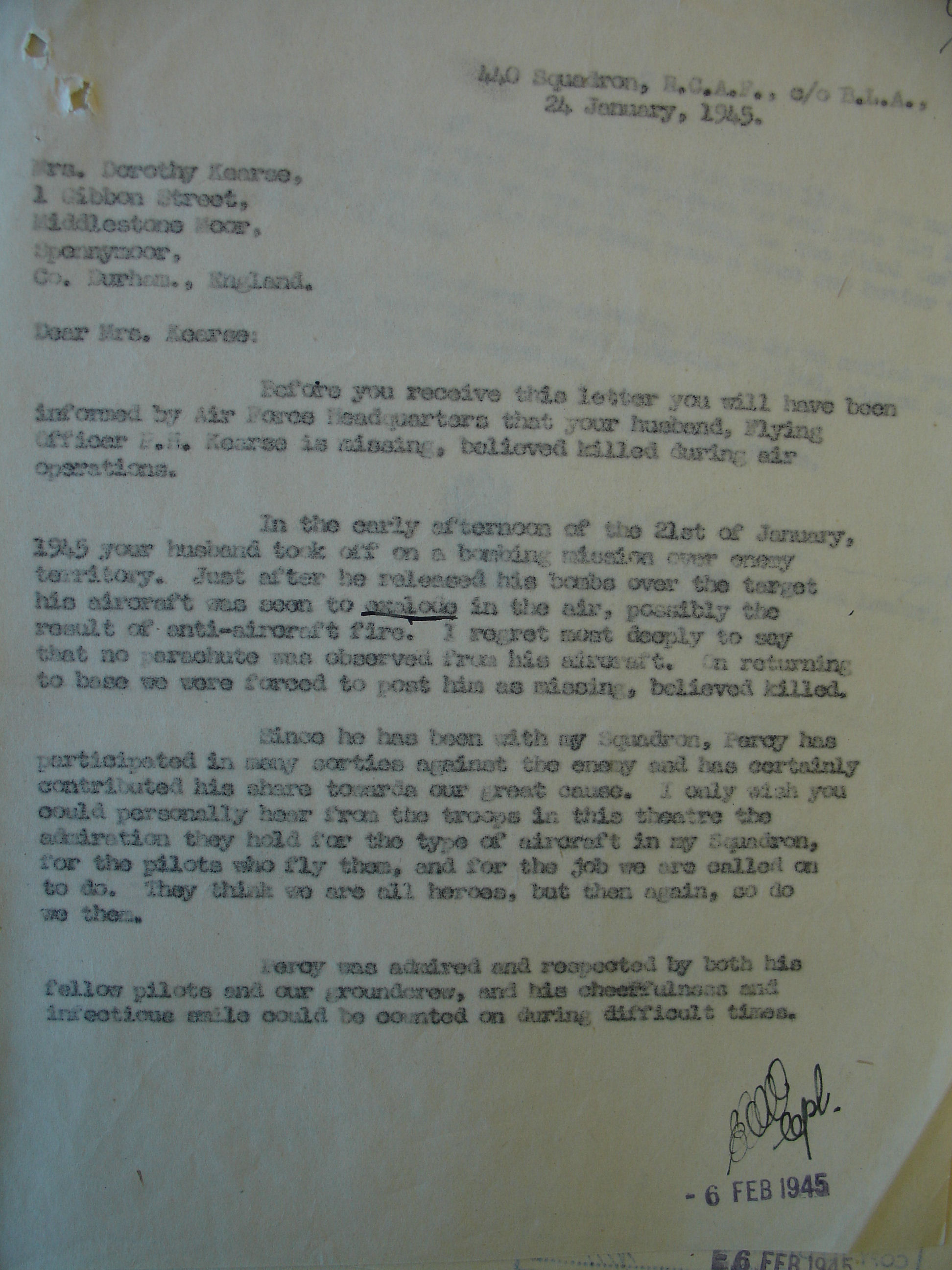 Document– Crash information, letter by S/L Hal Gooding, LAC, Ottawa.