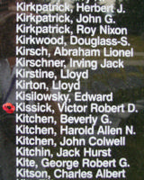 Memorial– Flight Sergeant Victor Robert David Kissick is also commemorated on the Bomber Command Memorial Wall in Nanton, AB … photo courtesy of Marg Liessens