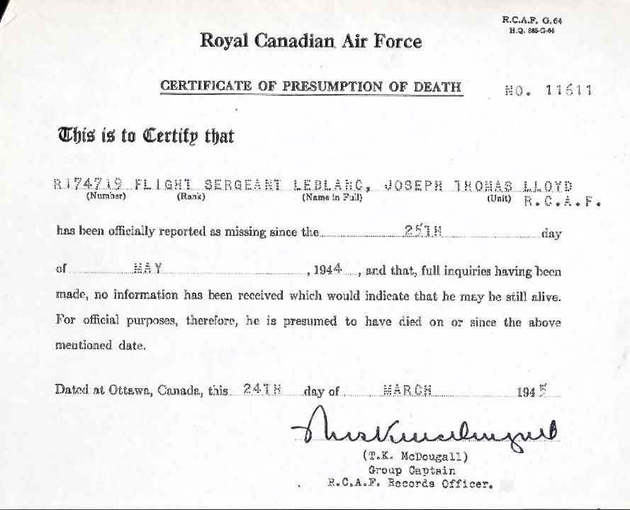 Notification of death– Submitted for the project Operation Picture Me
