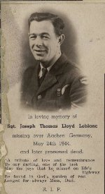 Photo of Joseph T. L. LeBlanc– Funeral picture from personal files.