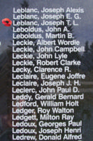 Memorial– Flight Sergeant Joseph Thomas Lloyd Leblanc is also commemorated on the Bomber Command Memorial Wall in Nanton, AB … photo courtesy of Marg Liessens