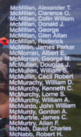 Memorial– Warrant Officer Class II Roderick McMillan is also commemorated on the Bomber Command Memorial Wall in Nanton, AB … photo courtesy of Marg Liessens