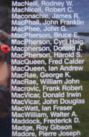 Memorial– Flying Officer Donald James MacPherson is also commemorated on the Bomber Command Memorial Wall in Nanton, AB … photo courtesy of Marg Liessens