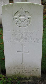 Grave Marker– Photo courtesy of Frans van Cappellen, Putten, The Netherlands. Wellington aircraft of 419 Sqdn was lost when severe icing conditions were encountered on the way to the target, Aachen, Germany.   Killed with F.Sgt. O'Grady were the pilot, WO2 Thomas Powell of Sarnia, ON; F.Sgt Howard Broom of Lansing, ON; F.Sgt. Guy McElroy of Kemptville, ON; and P/O Francis L. Todd from Cobalt, ON. (Source:  They Shall Grow Not Old, published by the Commonwealth Air Training Plan Museum, Brandon, MB.)