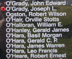 Memorial– Flight Sergeant Joseph Leonard O'Grady is also commemorated on the Bomber Command Memorial Wall in Nanton, AB … photo courtesy of Marg Liessens