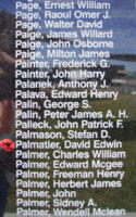 Memorial– Warrant Officer Class II David Edwin Palmatier is commemorated on the Bomber Command Memorial Wall in Nanton, AB … photo courtesy of Marg Liessens