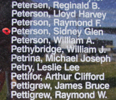 Memorial– Flying Officer Sidney Glen Peterson is commemorated on the Bomber Command Memorial Wall in Nanton, AB … photo courtesy of Marg Liessens