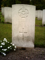Grave Marker– Sgt. Thomas A Sherman, was the 2nd Pilot of Whitley Z6577  78 Squadron who crashed on August 17th 1941 at Ohe and Laak  Holland...   Photo source: Michel Beckers