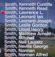 Memorial– Flying Officer Lawrence Lindsay Smith is commemorated on the Bomber Command Memorial Wall in Nanton, AB … photo courtesy of Marg Liessens