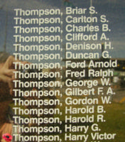 Memorial– Flight Sergeant Harry Victor Thompson is commemorated on the Bomber Command Memorial Wall in Nanton, AB … photo courtesy of Marg Liessens