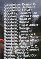 Memorial– Pilot Officer Vernon Alfred Goodwin is also commemorated on the Bomber Command Memorial Wall in Nanton, AB … photo courtesy of Marg Liessens