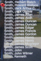 Memorial– Flying Officer Howard Wallace Smith is commemorated on the Bomber Command Memorial Wall in Nanton, AB … photo courtesy of Marg Liessens