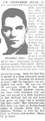 Newspaper Clipping– The Toronto Star January 30, 1945, page 24
