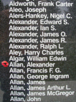 Memorial– Flying Officer Alexander Allan is also commemorated on the Bomber Command Memorial Wall in Nanton, AB … photo courtesy of Marg Liessens