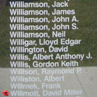 Memorial– Sergeant David Millar Willmott is also commemorated on the Bomber Command Memorial Wall in Nanton, AB … photo courtesy of Marg Liessens