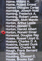 Memorial– Pilot Officer Ronald Elmer Horton is also commemorated on the Bomber Command Memorial Wall in Nanton, AB … photo courtesy of Marg Liessens
