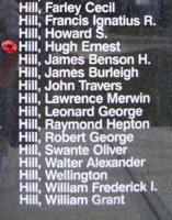 Memorial– Pilot Officer Hugh Ernest Hill is also commemorated on the Bomber Command Memorial Wall in Nanton, AB … photo courtesy of Marg Liessens