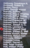 Memorial– Pilot Officer Russell Neal Holmes is also commemorated on the Bomber Command Memorial Wall in Nanton, AB … photo courtesy of Marg Liessens
