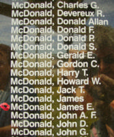 Memorial– Flight Sergeant James Edward McDonald is also commemorated on the Bomber Command Memorial Wall in Nanton, AB … photo courtesy of Marg Liessens