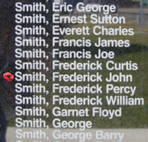 Memorial– Flight Sergeant Frederick John Smith is also commemorated on the Bomber Command Memorial Wall in Nanton, AB … photo courtesy of Marg Liessens
