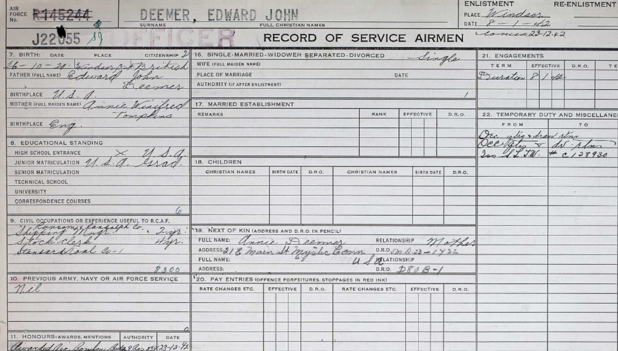 Record of service– Submitted for the project, Operation Picture Me