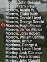Memorial– Flying Officer Hugh Francis Morrow is also commemorated on the Bomber Command Memorial Wall in Nanton, AB … photo courtesy of Marg Liessens