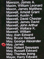 Memorial– Pilot Officer James May is also commemorated on the Bomber Command Memorial Wall in Nanton, AB … photo courtesy of Marg Liessens